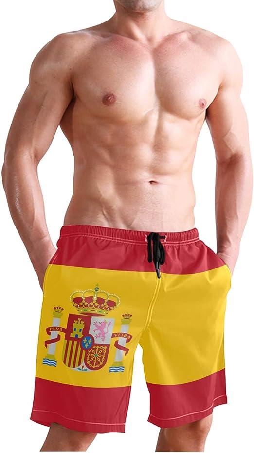 DEZIRO - Bañador para hombre, diseño de la bandera de España: Amazon.es: Ropa y accesorios