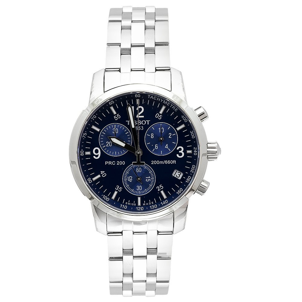 Tissot T17158642 Men S T Sport Prc200 Chronograph Stainless Steel Blue Dial Watch