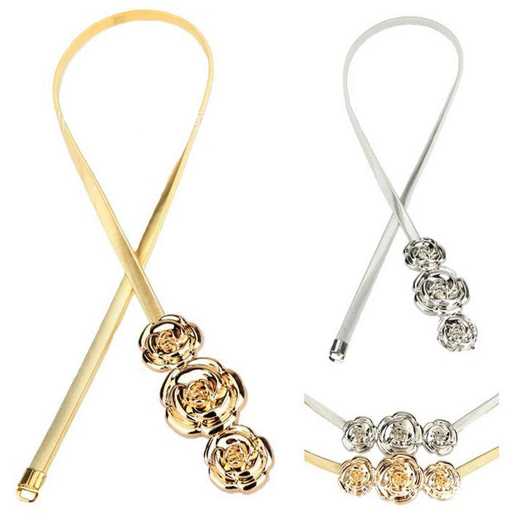 Tinksky Cinghia elastica della catena della vita del fiore del metallo della catena della vita delle 2pcs per la decorazione del vestito, regalo per le donne (oro d'argento) P1M150123RJNOZ5433