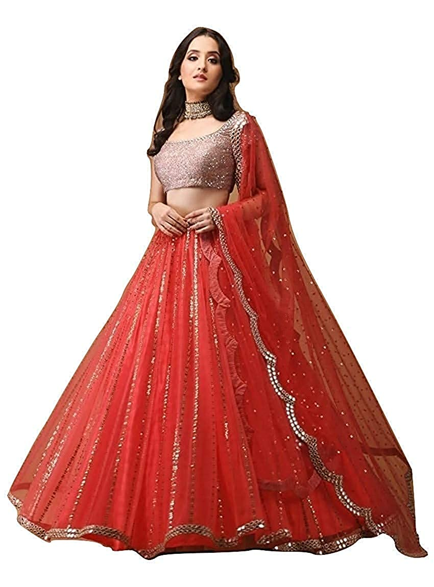 Lehenga Choli Red 01/_Free/_Size Indian Clothing Store Siddharth Fab Womens Embroidered Red Colour Semi Stitched Lehengas