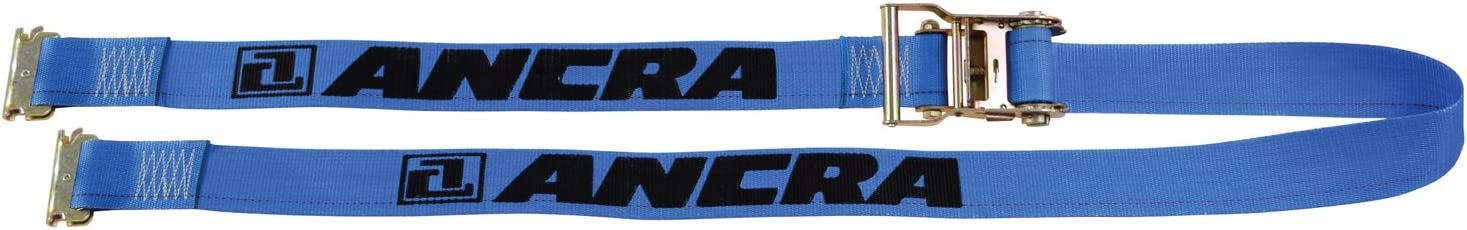 Ancra 48672-15 Ratchet with Spring Actuated E-Fittings 2-Inch by 20-Feet Blue Webbing