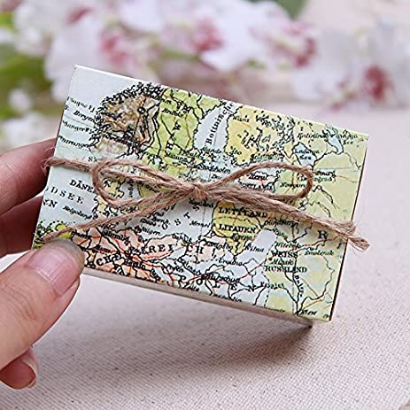 Amazon since 50 pcs around the world map favor box for since 50 pcs quotaround the worldquot map favor box for traveling theme wedding gumiabroncs Gallery