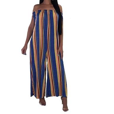 92bd88b36909d Fathoit Combinaison Pantalon Femme Ete Chic, Mode Femmes Boho Slash Cou  Stripe Camisole Gilet sans Manches Longues Combinaisons  Amazon.fr   Vêtements et ...