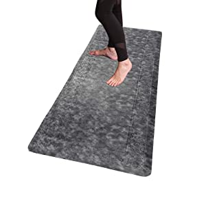 "HEBE Extra Large Anti Fatigue Comfort Mats for Kitchen Floor Standing Desk Non Skid Thick Cushioned Kitchen Floor Mat Runner Waterproof Kitchen Rugs Comfort Standing Mat,20""x59"",Silver Grey"