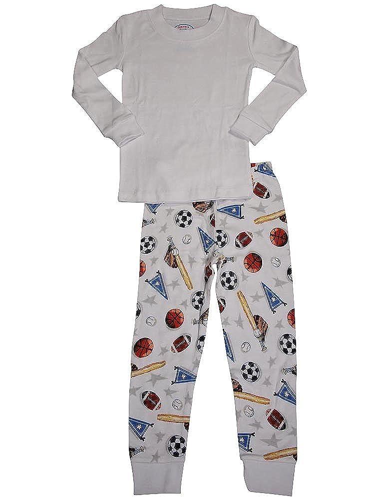 Saras Prints Little Boys LS Long John Pajamas White 35301-4