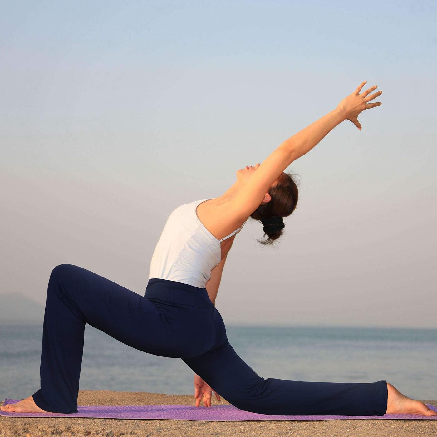 HDE Womens Color Block Fold Over Waist Yoga Pants Flare Leg Workout Leggings