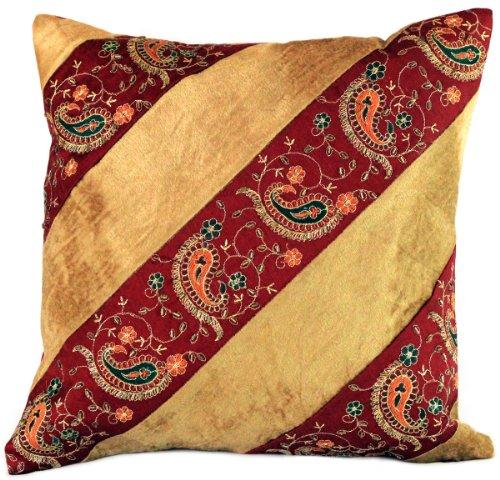 Velvet Hand Embroidered Pillow Cover, Set of 2 (Gold)