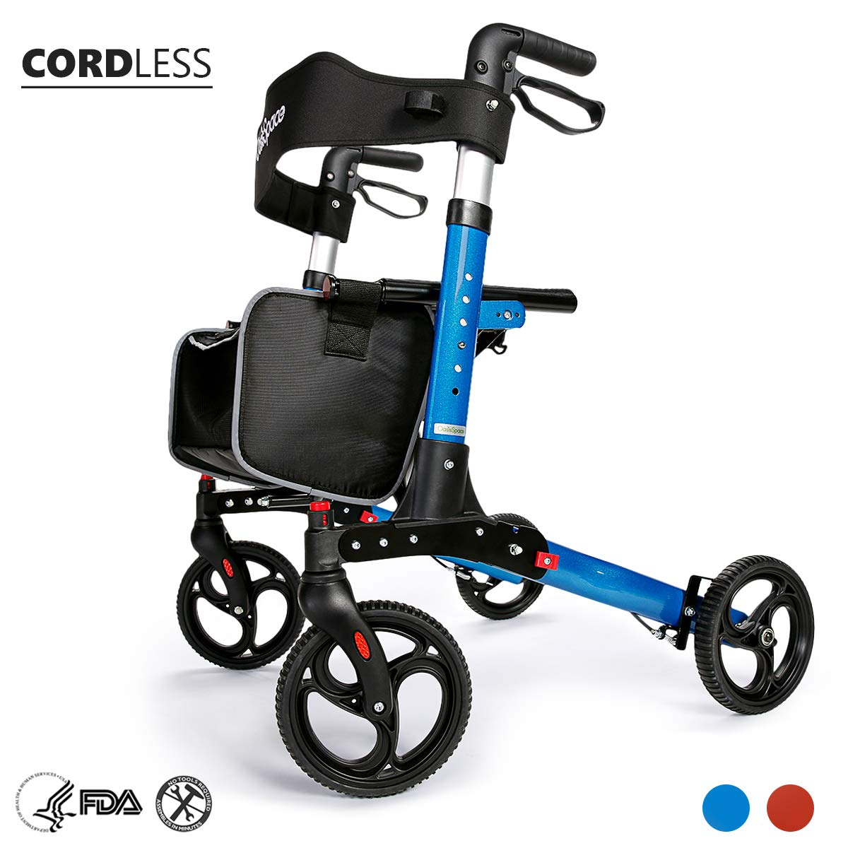 OasisSpace Ultra Folding Rollator Walker with Wide Seat 8 inches Antiskid Wheels Compact Design Baking Finish Walkers for Senior (Blue) by OasisSpace