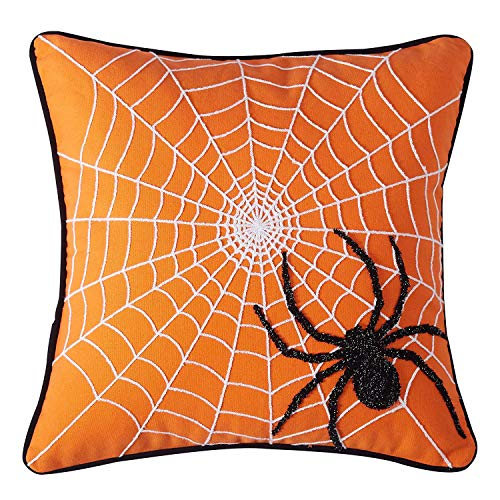 (Cassiel Home Halloween Throw Pillow Covers 18X18 Black Spider on The Web Embroidery Pillow Cover Orange Halloween Decorations for Home Couch)