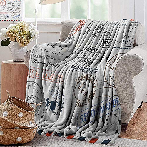 """XavieraDoherty Cool Blanket,Vintage,Retro Post Stamps Postage Mail Paris Antique Artistic Design Vocation Traveling, Multicolor,for Bed & Couch Sofa Easy Care 35""""x60"""""""