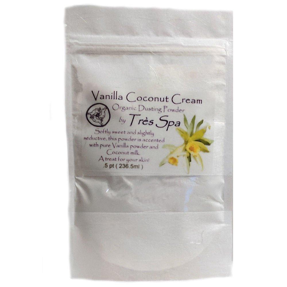 Très Spa Vanilla Cream Dusting Powder - Organic Botanicals with Vanilla Bean & Coconut Cream   Natural Body Powder that is Talc Free, Clay Free, Non GMO (.5pt Bulk Bag) by Très Spa