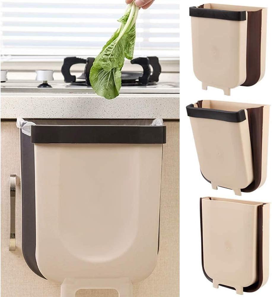 Yolistar Cubos de Basura Plegable Colgando para Puerta de Armario de Cocina, Cubo de Basura Plegable Pequeño Bote de Basura Compacto Cocina Salón Baño Coche Oficina 8L