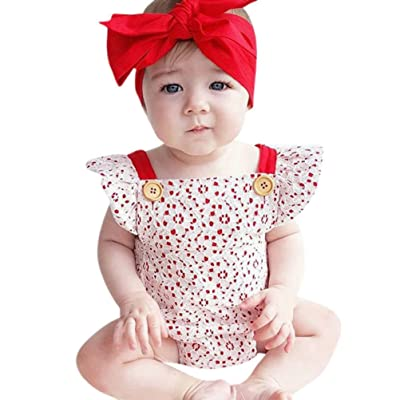 f3d5f6f3bf7f Minisoya Summer 2Pcs Cute Toddler Infant Baby Girls Cap Sleeve Floral Lace Romper  Jumpsuit Headband Outfit Set