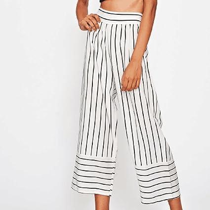OHQ Pantalones para Mujer Cortos Anchos De Pierna Ancha Pantalones Anchos  Rayas con Rayas Cortos Sueltos SóLidos Mujeres Bolsillos Pantalones Cortos  ... 22124f4f7ae0