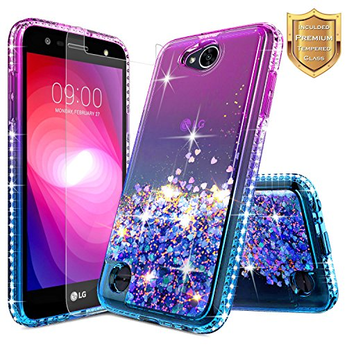 LG Fiesta 2, LG X Charge, LG X Power 2 / Fiesta LTE Case w/[Tempered Glass Screen Protector], NageBee Glitter Liquid Quicksand Waterfall Floating Flowing Sparkle Bling Girls Cute Case -Purple/Blue