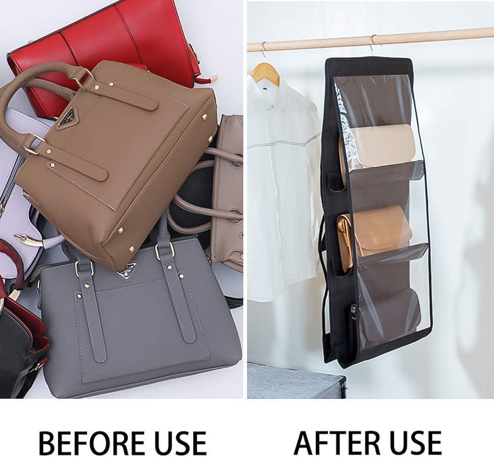 Inheming Hanging Purse Handbag Organizer Dust-Proof Space Saver Storage  Holder Bag 6 Pockets Wardrobe Closet Handbags Storage Handbag Accessories Handbag  Organizers