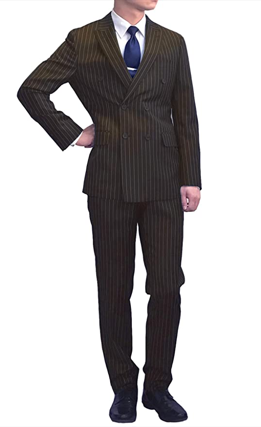 1930s Men's Suits History Mens Fashion Suit Double Breasted Banker Stripe Classic Regular Fit Double Pleated Pants $170.00 AT vintagedancer.com