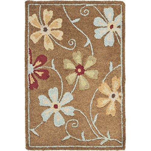 Safavieh Blossom Collection BLM784B Handmade Camel and Multi Premium Wool Area Rug (2' x 3')