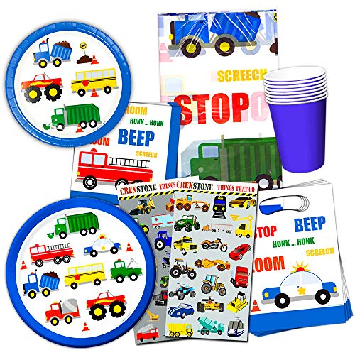 Cars and Trucks Party Supplies Ultimate Set - Birthday Party Decorations, Party Favors, Plates, Cups, Napkins and More (Things That Go Party Supplies) (1) -
