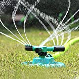 Sprinkler, Lawn Sprinklers Garden Oscillating Water Irrigation Sprayer with Automatic 360 Rotating Head Triple Arms and Easy Connection - Hose Sprinkler for Yard & Patio