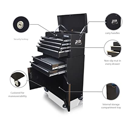 US PRO Tools- Armario con ruedas para herramientas, color negro