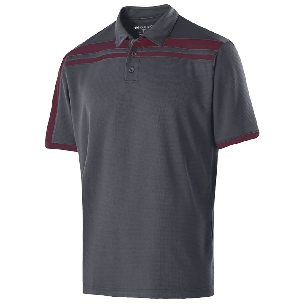 Holloway Dry-Excel Mens Charge Polo (XXX-Large, Carbon/Maroon) by Holloway