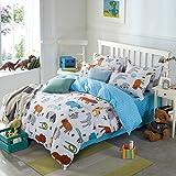 LELVA Cartoon Bedding Set Animal Print Duvet Cover Set Kids Bedding for Girls and Boys Childrens Bedding (Twin, Fitted Sheet Set)