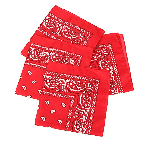 Fun Central 12 Pack Bandanas in Bulk for Men, Women, Kids & Dogs - Cowboy Party Favors Supplies - Red
