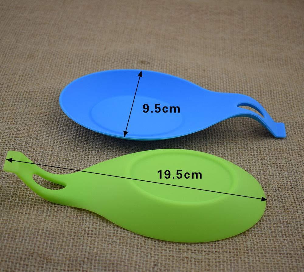 duradero atractivo Juego de reposacucharas de silicona Juego de 5 cucharas con colorido resistente al calor