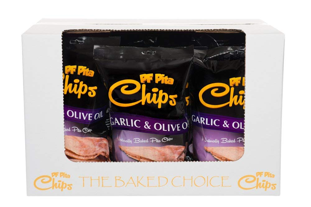 PF Pita Chips, Garlic and Olive Oil, 8 Ounce (Pack of 12) ❤️no gmo ✡️OU ☮️Vegan by PF PITA CHIPS