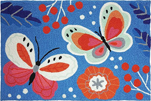 Jellybean Butterlies On Azure Blue Accent Rug
