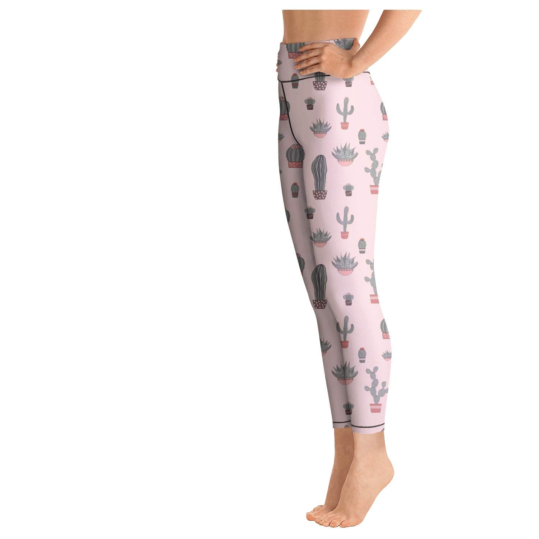 Doodle Textured Thornless Cactuses Womens Women High Waist Yoga Pants Quick-Dry Soft Pants Unique
