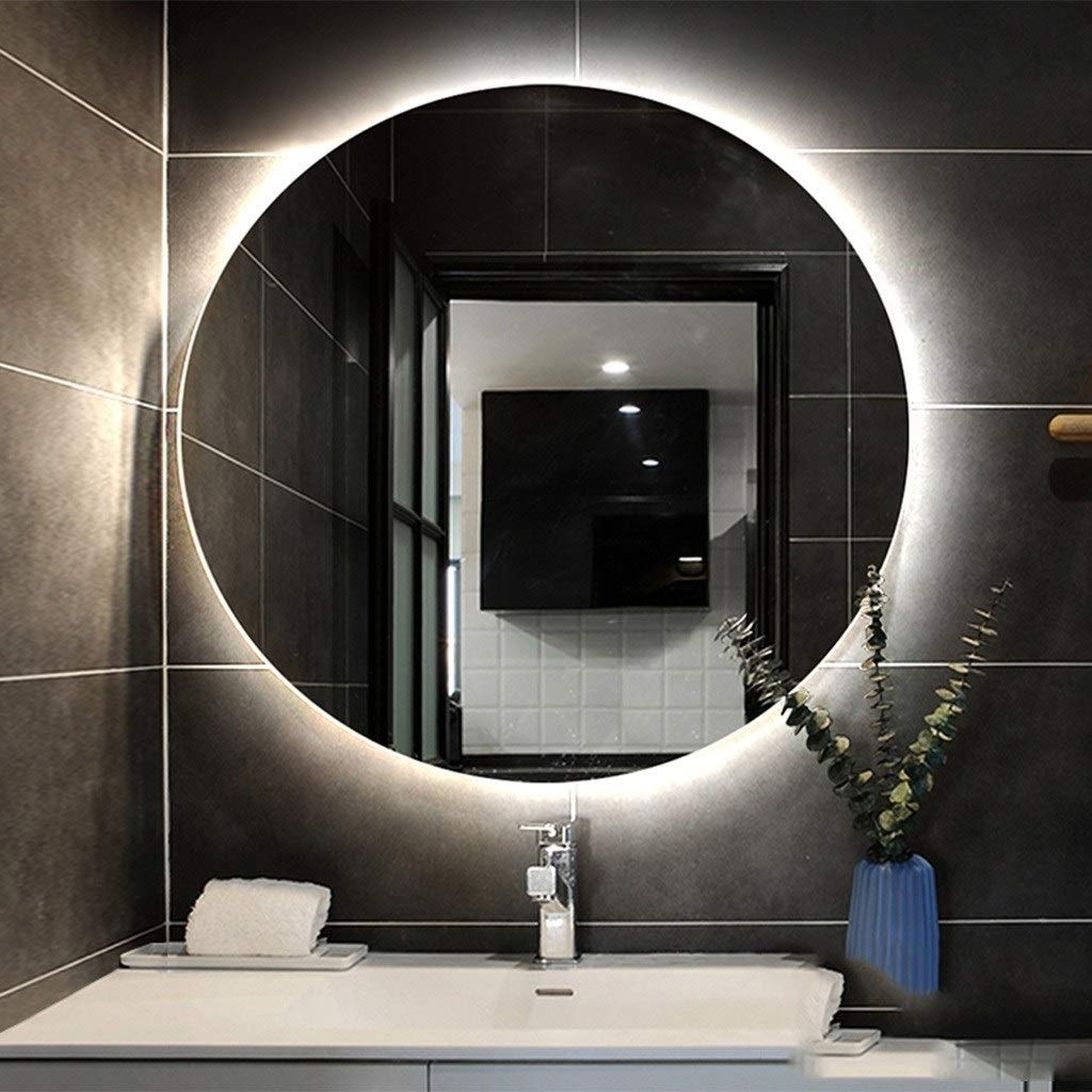 Beauty mirror Wall Mounted Backlit Makeup Vanity Mirror Round Bathroom Lighted Mirror Modern Decorative Wall Mirror Dressing mirror (Color : White light, Size : 70x70cm) by Makeup Mirrors