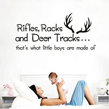 Rifles Racks and Deer Tracks Thatu0027s What Little Boys Are Made Of Wall Decals Vinyl  sc 1 st  Amazon.com & Amazon.com: Rifles Racks and Deer Tracks Thatu0027s What Little Boys ...