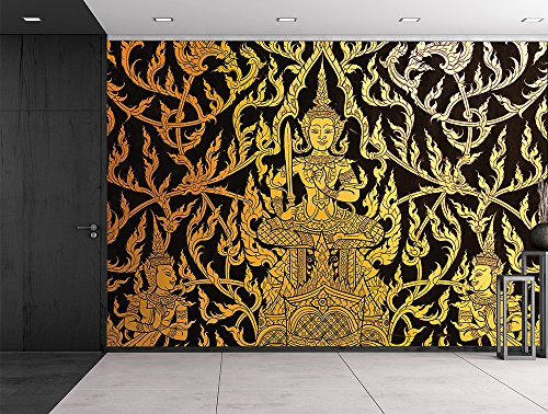 Black and Gold traditional Thai temple painting Ornate wall Wall Mural