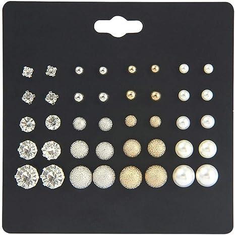 Rhinestone Heart Three Pairs Black Stud Earrings Set Teens Girls Brand Fashion Gifts Jewelry 2019