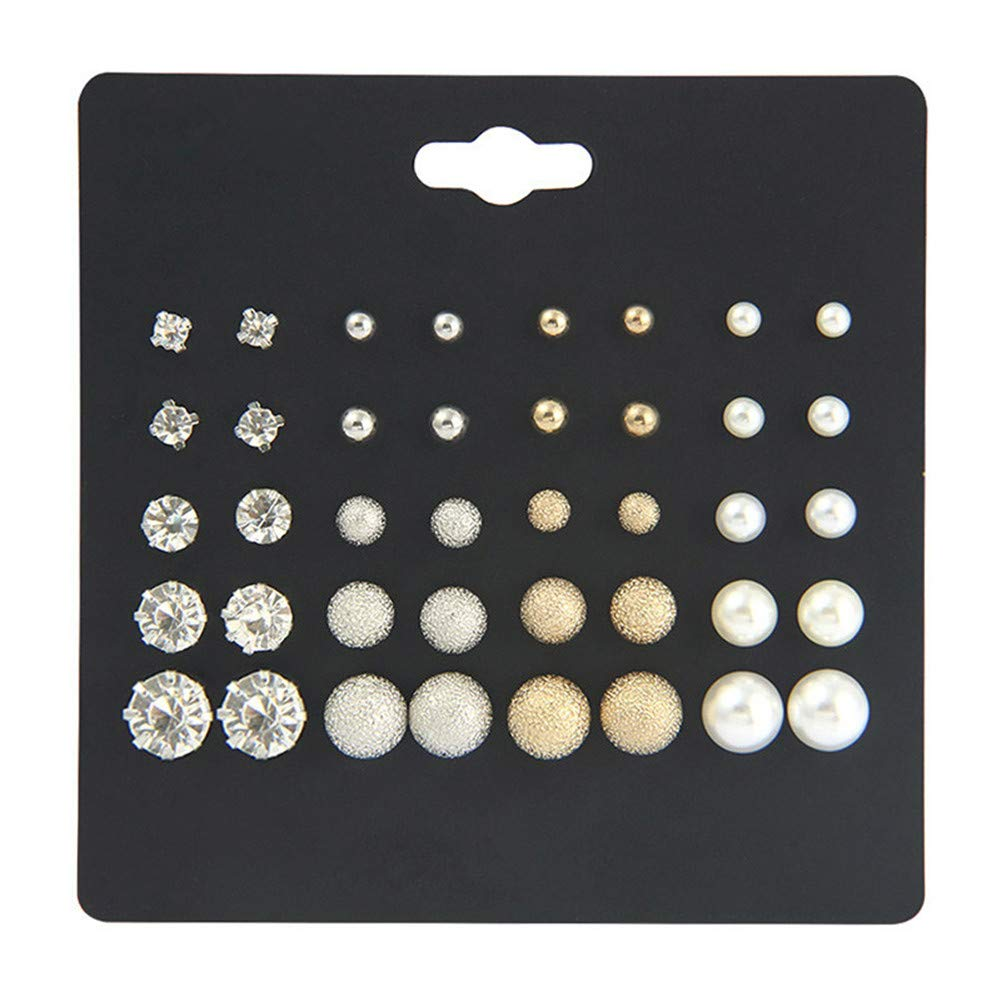64d6a17ebe6b22 Amazon.com: Stud Earrings for Women Men Round Crystal Pearl Earring Set  Silver Gold Ear Stud Jewelry for Girls Gifts 24 Pairs: Arts, Crafts & Sewing