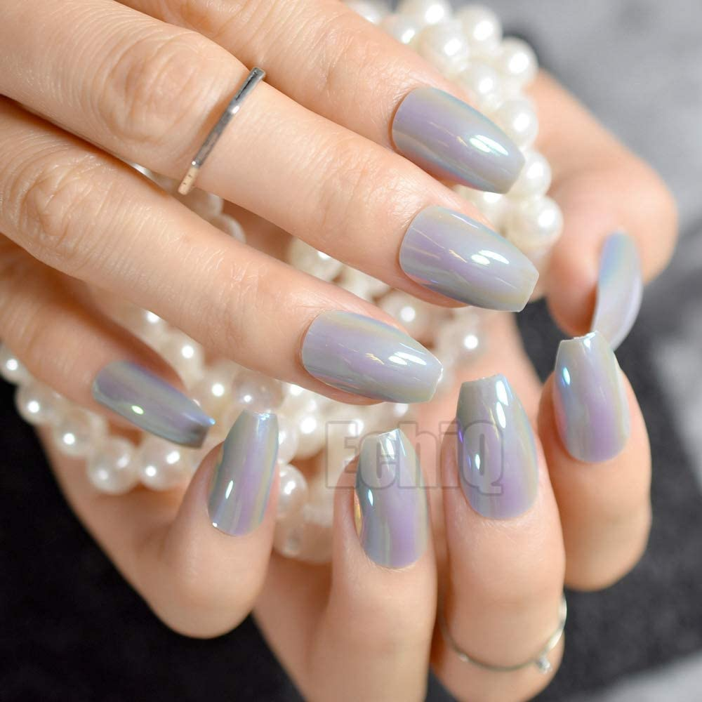 24 uñas postizas de color gris para manicura de salón de belleza ...