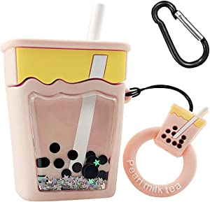 MOLOVA Case for Airpods 1&2 Case,Soft Silicone 3D Cute Food Boba Milk Tea Fashion Funny Shining Bling Twinkle Design Kawaii Airpods Accessories Cover for Kids Girls Teens Women Boys (Quicksand Tea)