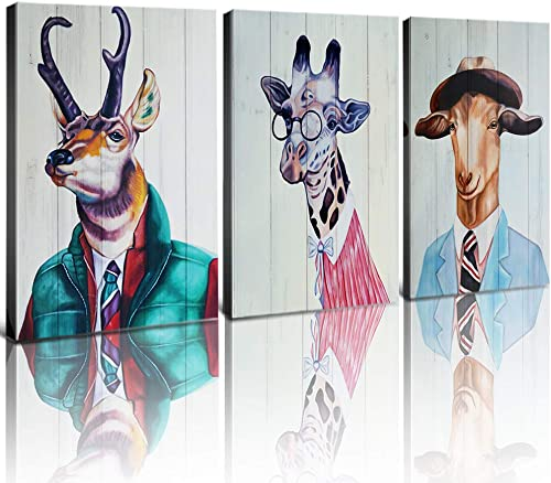 Animal Wall Art Canvas Prints Home Decor Retro Animals Portrait Reindeer Elk Giraffe Dressed Goat Wearing Glasses Clothes Hat Painting Pictures Modern Artwork