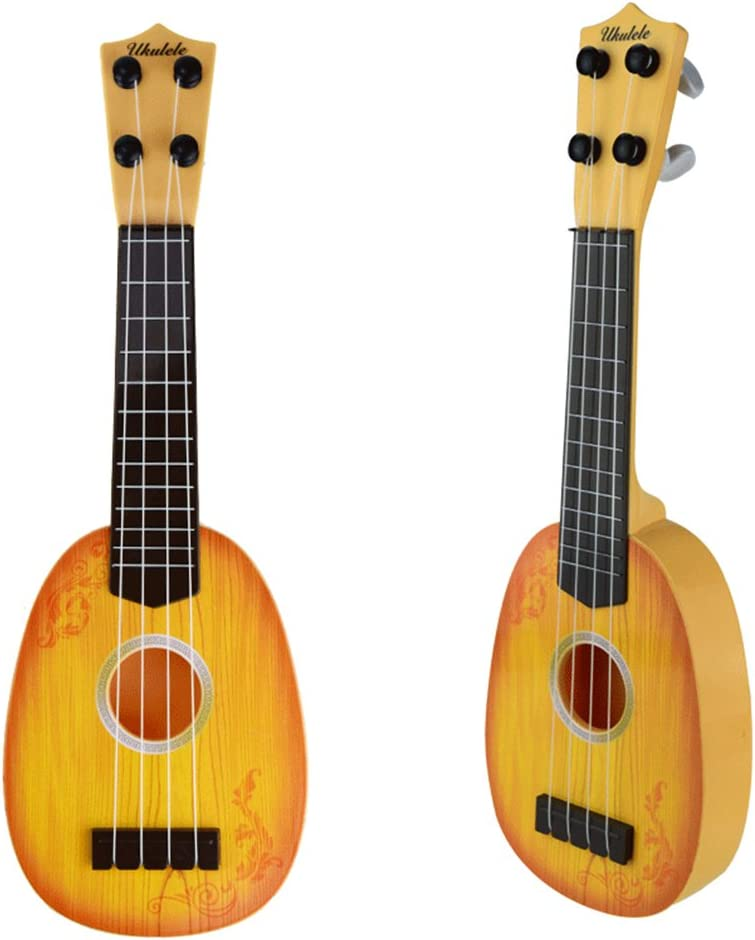 Grocery House Cute Mini Ukulele Toy for Kids, Musical Instruments Toy (Yellow-wood)