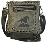Montana West Western Style Cross Body Bag Faux Leather Purse with Horse Handbag (Grey), Bags Central
