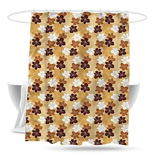 paladen Fabric Shower Curtain Beige Hibiscus Flowers Motifs Fabric Shower Curtain Bathroom W70×L70