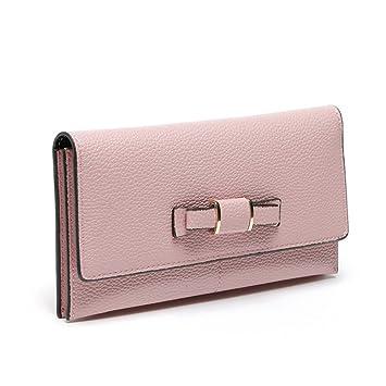 ac98afa64b13d Xiaoqin Dame Freizeit Umschlag Form Lange Echtes Leder Handtasche Null  Geldbörse Bowknot Schmücken Brieftasche Frauen-