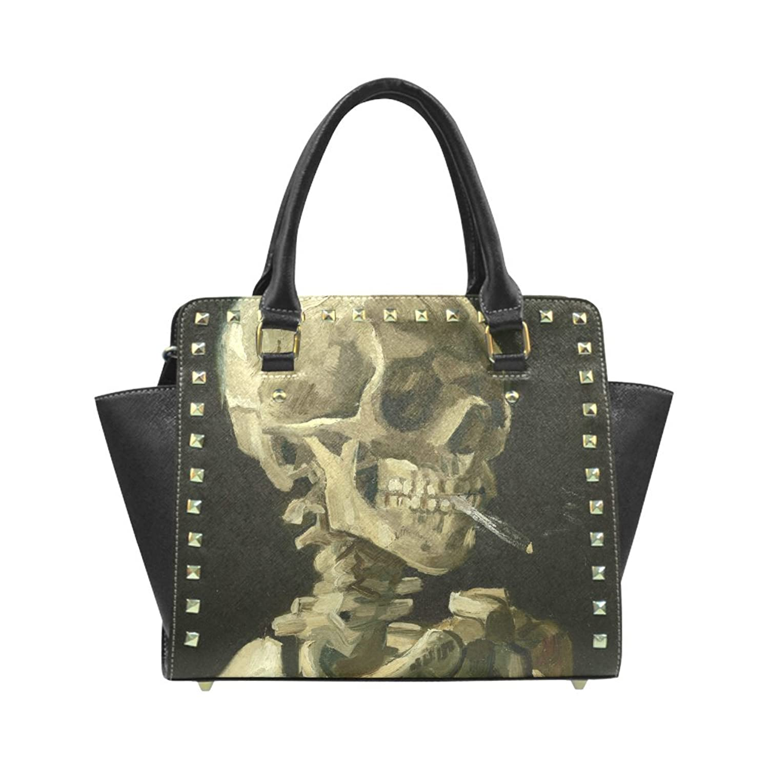 Smoking Skull Rivet PU Leahter Shoulder Handbag For Fashion Women/Girls