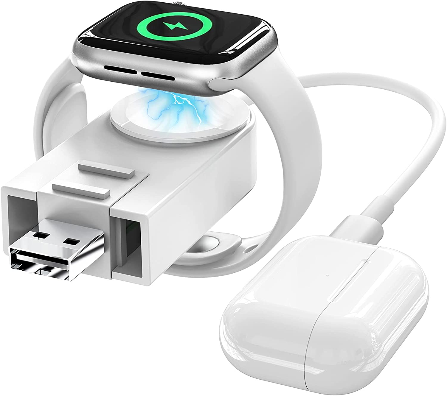 Upgrade Version for Apple Watch Charger 2-in-1 Wireless USB Charging Cable Cord Compatible with Apple Watch iWatch Charger Series 6/SE/5/4/3/2/1, for iPhone 12/11/Pro/X, AirPods and iPad Series