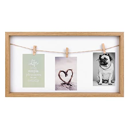 3 Picture Novelty Photo Frame with Hanging Pegs - Ideal for Home ...