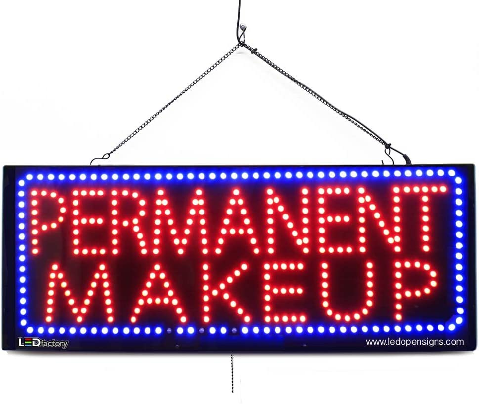 Large LED Window Beauty Salon Sign - Permanent Makeup - Extra Bright LEDs - Can Be Seen Through Tinted Windows - Extra Large - 32 inches Wide (#2730)