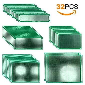 MVPOWER 32pcs de Tableros de PCB de Doble Cara con Agujeros Placa de PCB Prototipo Placa
