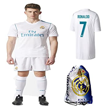 promo code a14a6 d4180 Real Madrid NB Ronaldo Bale Benzema Ramos 2017 2018 17 18 Kid Youth Replica  Home Jersey Kit : Shirt, Short, Socks, Bag